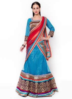 Blue embroidered net semi stitched lehenga