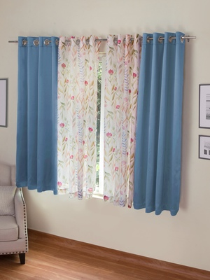 ROSARA HOME Erba Grace Voile Pack of 4 Window Curtains