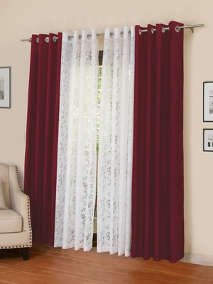 ROSARA HOME Mateo Emily Pack of 4 Door Curtains