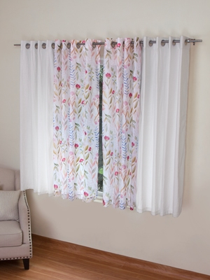 ROSARA HOME Mateo Grace Voile Pack of 4 Window Curtains