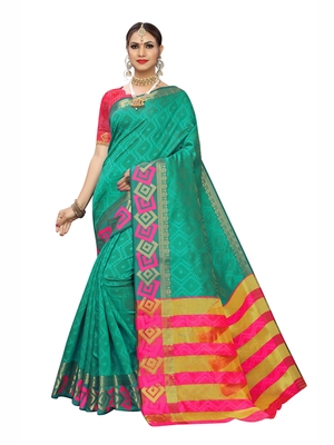 Teal woven chanderi saree with blouse