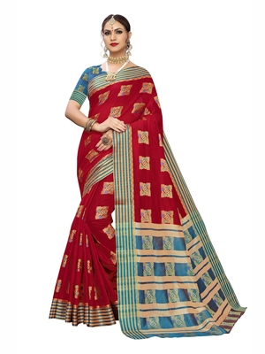 Red woven poly silk saree with blouse