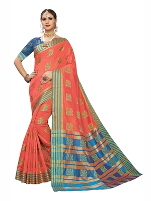 Light rose woven poly silk saree with blouse