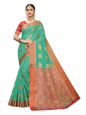 Sea green woven poly silk saree with blouse