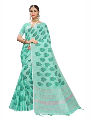 Light sky blue printed cotton saree with blouse