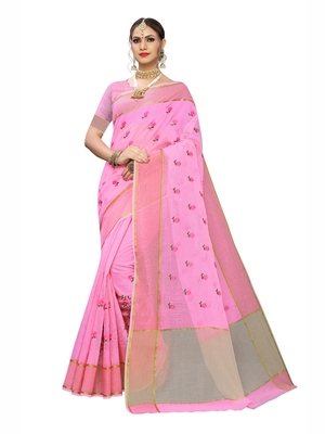 Light pink embroidered cotton saree with blouse