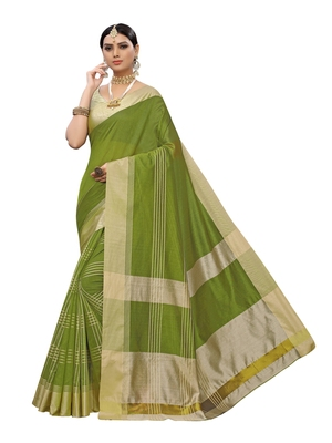 Light green woven poly silk saree with blouse