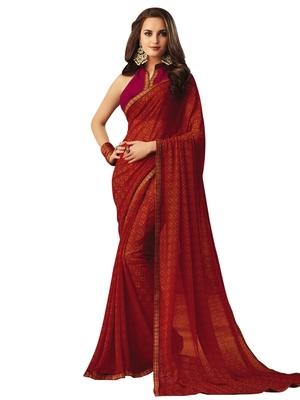 Ruby Printed Chiffon Saree With Blouse