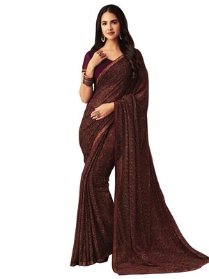 Burgundy printed chiffon saree with blouse