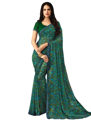 Light green printed chiffon saree with blouse