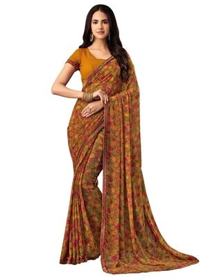 Light mustard printed chiffon saree with blouse