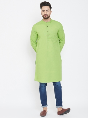 green plain pure cotton men-kurtas