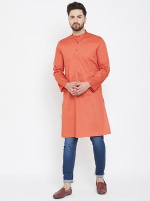 Orange plain pure cotton men-kurtas