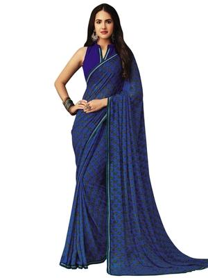 Dark blue printed chiffon saree with blouse