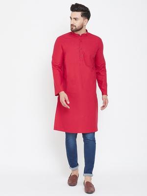 Red plain pure cotton men-kurtas
