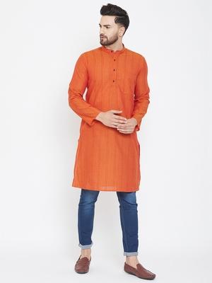 Orange woven pure cotton men-kurtas