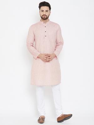 Pink Woven Pure Linen Men Kurtas