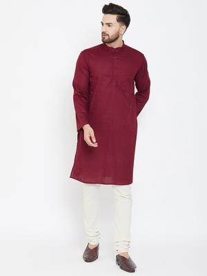 Maroon plain pure cotton men-kurtas
