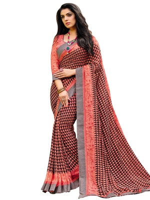 Coral printed georgette saree with blouse