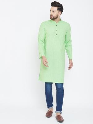 Turquoise Plain Pure Linen Men Kurtas