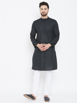 Black printed pure cotton men-kurtas