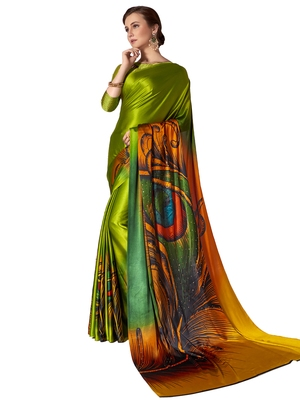 Lime printed chiffon saree with blouse