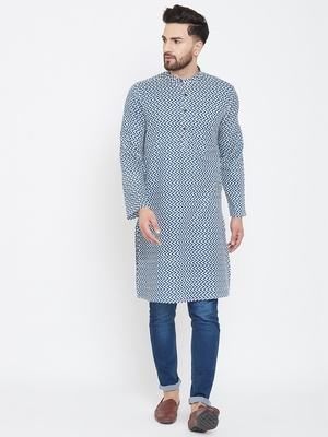 Blue printed pure cotton men-kurtas