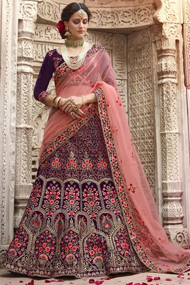 Violet Embroidered Silk Semi Stitched Lehenga