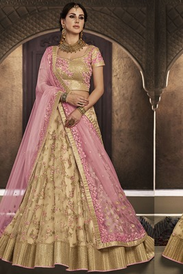 Golden embroidered net semi stitched lehenga