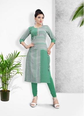 Green Khadi Cotton Stitched Kuri Causal Wear