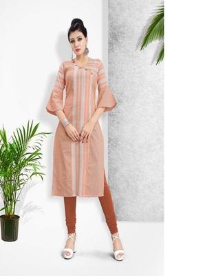 Orange Khadi Cotton Stitched Kuri Causal Wear