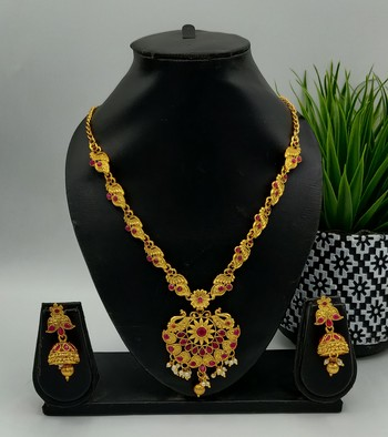 Gold Plated Ruby Stone Peacock Pendant Jewellery Set