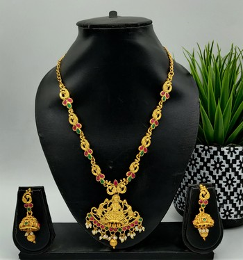 Gold Plated Red And Green Stone Laxmi Pendant Jewellery Set