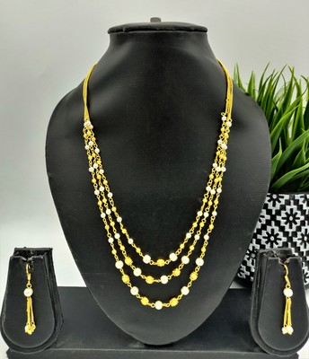 Gold Plated Layered White and Gold Beaded Necklace