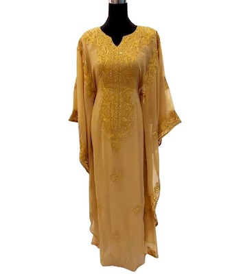 beige georgette moroccan dubai kaftan farasha aari and stone work dress