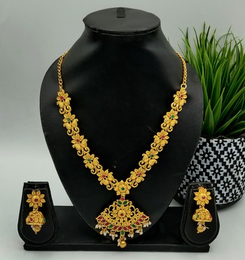 Gold Plated Pink & Green Stone Studded Jewellery Set