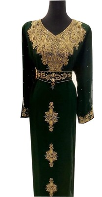 green georgette moroccan islamic dubai kaftan farasha zari and stone work dress