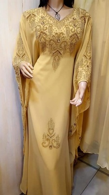 beige georgette moroccan islamic dubai kaftan farasha zari and stone work dress