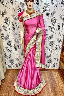 Pink embroidered pure georgette saree with blouse