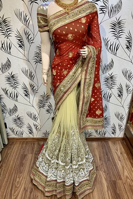 Red embroidered pure viscose saree with blouse