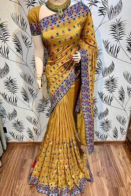 Mustard embroidered pure silk saree with blouse