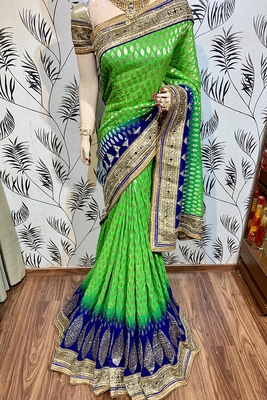 Green embroidered pure viscose saree with blouse