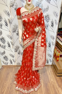 Red Embroidered Pure Banarasi Silk Saree With Blouse
