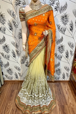 Orange embroidered pure viscose saree with blouse