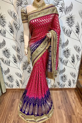 Maroon embroidered pure viscose saree with blouse