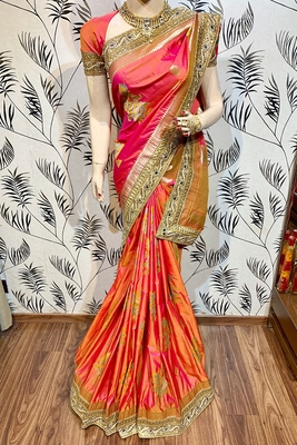 Pink embroidered pure banarasi silk saree with blouse