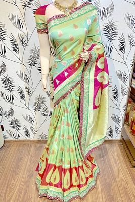 Green embroidered pure banarasi silk saree with blouse