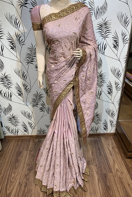 Pink embroidered pure satin saree with blouse