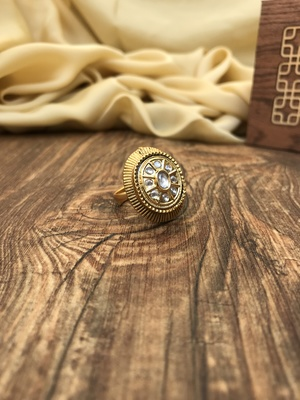 Gold Plated Oval White Stone Ring