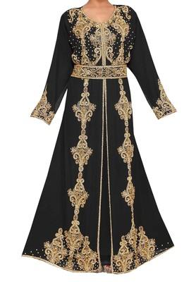 black georgette moroccan islamic dubai kaftan farasha zari and stone work dress